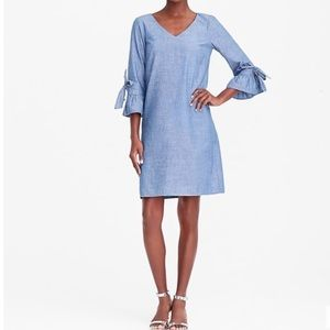 J Crew Blue Chambray Dress with bell sleeves Sz 6